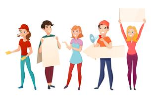 Förderer-Menschen-Cartoon-Charaktere eingestellt