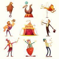 Zirkus-Retro Ikonen-Karikatur-Satz