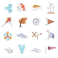 Blå ikoner för vindfärg