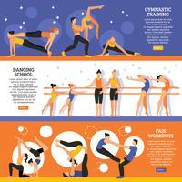 Dans och gymnastisk träning Banners Set
