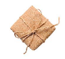 Vector Geschenkboxikonenillustration, Punktartpiktogramm, anwesendes Symbol, das auf weißem Hintergrund lokalisiert wird