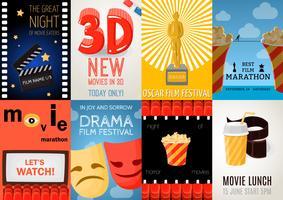Set von acht Kino-Plakaten vektor