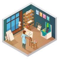 Moderne Malerei Studio Zusammensetzung vektor