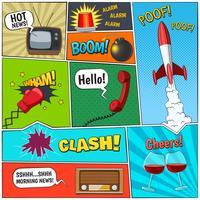 Comic Book Retro Elements Sammansättning Poster vektor
