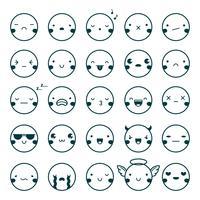 emoji uttryckssymboler svart uppsättning vektor