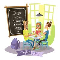 Kaffee-Zeit-Konzept des Entwurfes mit Hippies