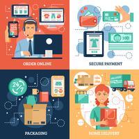 Koncept ikoner för e-handel