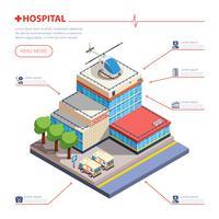 Isometrisk illustration för sjukhusbyggnad