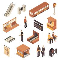 U-Bahn-U-Bahnstation Isometric Elements Set