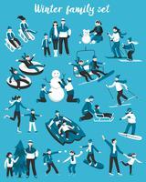 Familj vinter semester uppsättning
