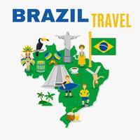 Brasilien kultur resebyrå platt affisch vektor