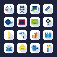Filmaking Flat Icons Collection Schwarzer Hintergrund