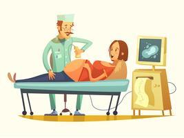 Graviditet Ultraljud Screening Retro Cartoon Illustration