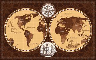 Retro världskarta vektor