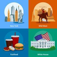 USA Flat 2x2 ikoner Set