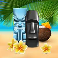 Hawaiische Strandzusammensetzung von Kahuna vektor