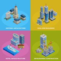 isometrisk stad 2x2 ikoner uppsättning