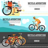 Cykling Äventyr Horisontell Banderoller vektor