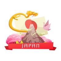 Japan kultur retro tecknad sammansättning affisch vektor