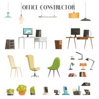 Modern Office Accessories Cartoon Set