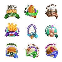 fastfood tecknad film färgstarka emblem set