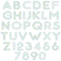 blå grönt alfabet