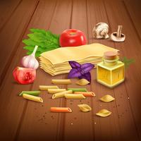 Dry pasta pasta realistisk komposition Poster vektor