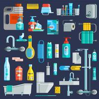 Platta färgade hygienikoner Set