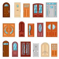 Set av detaljerade färgfulla främre dörrar vektor