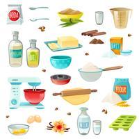 Färgade ikoner bakade ingredienser vektor