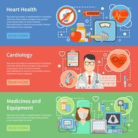 Kardiologi Flat Banners vektor