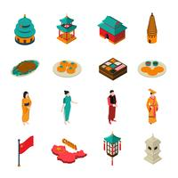 Kina Isometric Touristic Set vektor