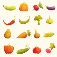 Grönsaker Ikoner Set Flat Retro vektor