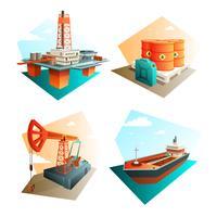 Petroleumoljeindustrin 4 isometriska ikoner
