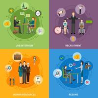 Rekrutierung HR Menschen 2x2 Icons Set