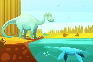 Tecknad filmillustration för dinosaurie och sköldpadda