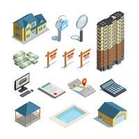 Isometrisk ikonsamling för fastigheter
