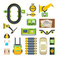 Fertigungslinie-Elemente-Icon-Set