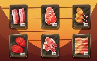 Draufsicht der Theke mit Schalen mit Fleischprodukten