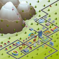 Village faciliteter Isometric Layout poster