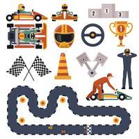 Kart-Motorrennen eingestellt vektor
