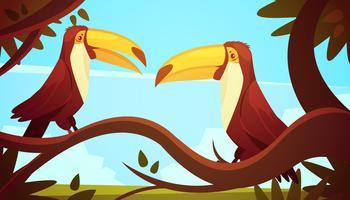 Toucan fåglar bakgrundsaffisch