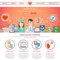 Flache Kardiologie-Seite vektor