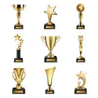 trofé utmärkelser realistiska uppsättning vektor