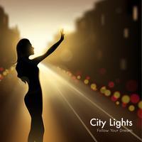 Mädchen-Schattenbild in den Stadtlichtern vektor