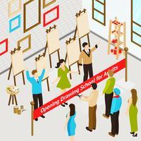 Isometrisches Plakat des Kunststudios