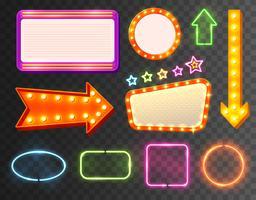 neon tecken ikonuppsättning vektor