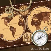 Vintage Nautical Map Kompass Bakgrund vektor