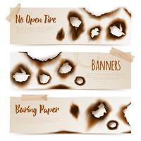 Papier verbrannt Löcher Banner vektor