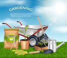 Trädgårdsredskap Design Concept Set